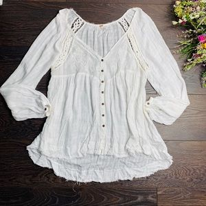 Free People White Lace Long Sleeve Top
